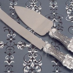 Wedding Favors Platinum Castle Collection Cake And Knife Set
