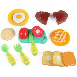 Kitchen Fun Steak And Egg Dinner Cutting Food Playset For Kids