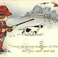 Boy With Hunting Knife, Pointer Dog, Hearts With Wings Original Vintage Postcard