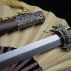 Tang Jian Sword/Damascus Steel Blade/Rosewood Scabbard/Alloy Knife Fitted/Rope Wrapped Around Handle