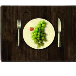 Green Grapes Fork Knife Dish Placemat Pads Customized Made To Order Support Ready 15 6/8 Inch (400Mm) X 11 13/16 Inch (300Mm) X 1/8 Inch (3Mm) High Quality Eco Friendly Cloth With Neoprene Rubber Luxlady Place Mouse Pad Desktop Mousepad Laptop Mousepads C