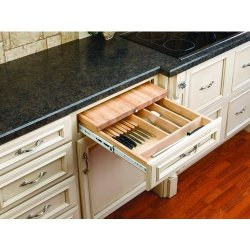 Rev-A-Shelf 4Kcb-24 4Kcb Series Combination Knife Holder And Cutting Board For 2, Natural Wood