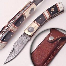 Custom Made Damascus Folding Knife (Non-Lock)