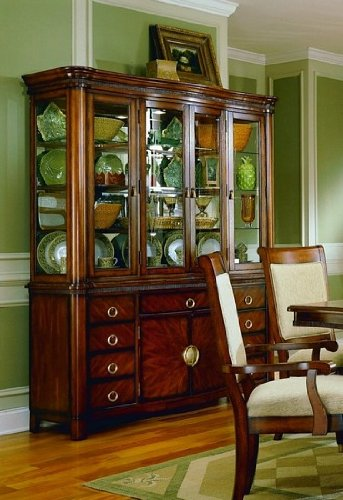 Image of Elegant Cherry Finish Hardwood China Cabinet / Buffet Hutch (VF_HE869-50)