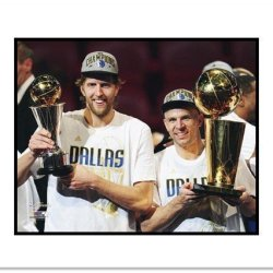 Dirk Nowitzki And Jason Kidd Dallas Mavericks Nba Double Matted 8X10 Photograph Nba Finals Champs With Trophies