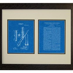 "Hunting-Knife Patent Art Blueprint Print In A Rustic Oak Wood Frame (16"" X 20"")"