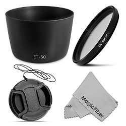 Et-60 Dedicated Bayonet Lens Hood For Canon Ef 75-300Mm F/4-5.6 Iii Usm, Ii, Ii Usm, Iii, Ef-S 55-250Mm Is Lenses + 58Mm Ultraviolet Uv Filter + Center Pinch Lens Cap + Magicfiber Microfiber Lens Cleaning Cloth