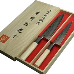 V10 Laminated Damascus Japanese-Style Butcher Knife 180Mm & Petty Knife 【Traditional Arts Of Japan】
