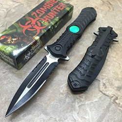 Z-Hunter Spring Assisted Open Outdoor Hunting Tactical Rescue Pocket Apocalypse Zombie Hunter W/ Zombie Logo Design Knife - Black