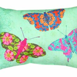 Manual Climaweave Indoor/Outdoor Throw Pillow, Butterfly Kaleidoscope, 12 X 18-Inch