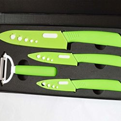 "Green 3""+ 4""+ 6"" Cutlery Knives +Peeler Parer Sharp Kitchen Ceramic Knife Set"