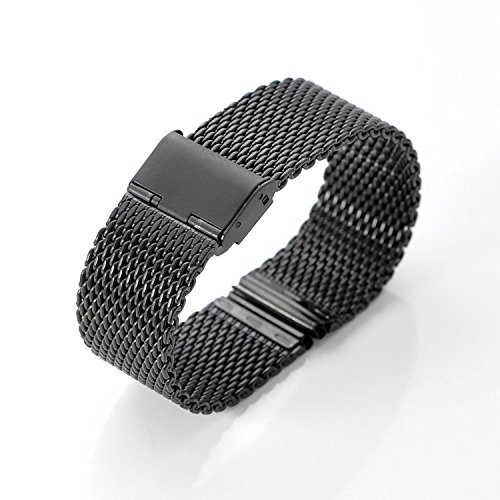 DHMXDC-22mm-Silver-Mesh-Specially-Designed-Stainless-Steel-Strap-Watchband-for-Motorola-Moto-360-Smartwatch-and-Lg-G-Watch-W100-W110-Urbane-W150-MESH-Black