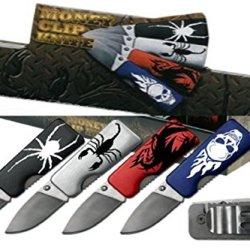 "1.75"" Blade Money Clip Pocket Knife (Set Of 4) Lasered Graphic On Handle"