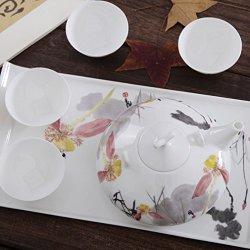 Granvela Tea Sets Tea Cups Pure Bone China Moonlight With Lotus Designed Artworks A Pot Of 4 Cups And A Saucer