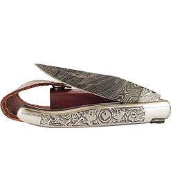 Silver Folding Knife Damascus Steel Blade Metal Handle