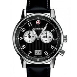 Wenger Men'S 74715 Commando Dual Time 2-Eye Black Dial Black Leather Watch