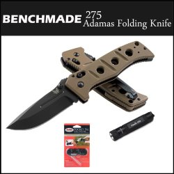 Benchmade Knife 275 Adamas Limited Edition Folding Knife Axis Locking Mechanism & G10 Handle Black + Smiths Pocket Pal Manual Knife Sharpener + Accessory Kit