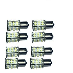 Hqrp 8-Pack Ba15S Bayonet Base 30 Leds Smd Led Bulb Warm White For #93 1141 1156 1073 1093 1129 Replacement Plus Hqrp Uv Meter