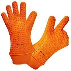 Xl-Xxl Orange Silicone Gloves - Best Oven Mitts, Gloves - Don'T Burn Your Hands When Cooking! Top Quality Silicone Gloves Fit Your Big Hands Perfectly - Safely Handle Hot Meats On Smoker