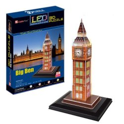 Ezhishop London Big Ben Clock Tower With Base And Led Light Diy 3D Puzzle Model Toy-28 Pieces