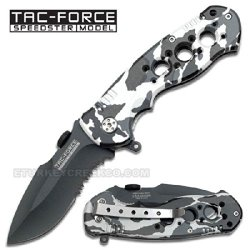 """Tf-536Sc Tac-Force Ldresmlcvi Spring Assist Knife. Snow Camo Color Xnz2Zg 4.5"""" Closed Ajuiioptr 4567Fffg 567Ybghjk Spring Assist Knife. All Black Half Serrated Stainless Steel. Snow Camo Color Handle Includes Qdlar48Tbw Clip. 4.5"""" Closed B8T8L 3"""" Blade"""
