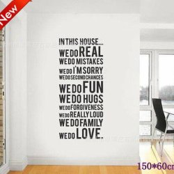 [Top-Me]-Family House Rules Stickers Wall Decal Removable Art Vinyl Decor Home Kids 150*60Cm 8011