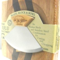 "6.5"" Block With Deep Dish Chopping Bowl And Ulu Knife With Bear Etched Handle"