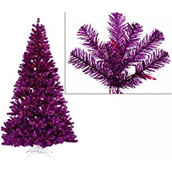 4' Pre-Lit Purple Full Artificial Sparkling Tinsel Christmas Tree - Purple Lights