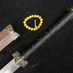 Chinese Han Sword/Damascus Steel Blade/Rosewood Scabbard/Alloy Knife Fitted