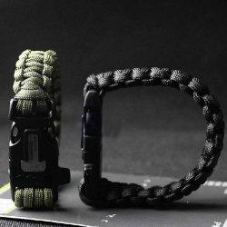 Estone® Survival Paracord Bracelet Flint Fire Starter Scraper Whistle Gear Kits (Bracelet Fire Starter Black)