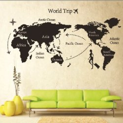 Global World Map Atlas Vinyl Wall Art Decal Sticker [ Tm7225