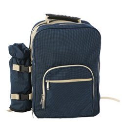 Nasis Super Four Persons Unisex Oxford Outdoor Picnic Bag Shoulder Bag Barbecue Package With Cutlery Al7072 (Dark Blue)