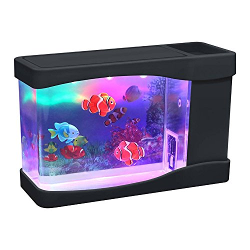 Aquarium Multi Colored Led Swimming Fish Tank with Bubbles. (Misc