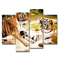 4 Piece Wall Art Painting Tigers Playing In Water Pictures Prints On Canvas Animal The Picture Decor Oil For Home Modern Decoration Print