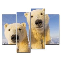 4 Panel Wall Art Painting Polar Bear Cubs In The Ice Pictures Prints On Canvas Animal The Picture Decor Oil For Home Modern Decoration Print For Bedroom