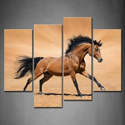 4 Panel Wall Art Brown Galloping Bay Horse On Gold Background Painting The Picture Print On Canvas Animal Pictures For Home Decor Decoration Gift Piece (Stretched By Wooden Frame,Ready To Hang)