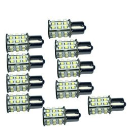 Hqrp 10-Pack Ba15S Bayonet Base 30 Leds Smd 3528 Led Bulb Cool White For #93 #1141 #1156 Rv Interior / Ceiling / Porch Lights Replacement + Uv Meter