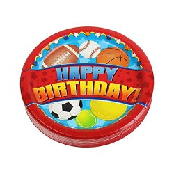 7 Inch Red Happy Birthday Dinner Plates, Sports Birthday Paper Plate (36 Count)