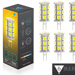 Triangle Bulbs (6-Pack) 2.6-Watt G4 Led Bulb 12V Ac/Dc, 13 Smd 5050 Led, 2.6W Warm White Color (Jc10 Bi-Pin 10W Replacement)