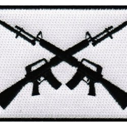 Ar-15 Crossed Assault Rifles Iron-On Patch Embroidered Military M16 Bayonets Emblem 2Nd Amendment M4 Carbine Flag