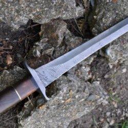 Outstanding Value - Custom Handmade Damascus Hunting Knife - Mini Sword - Double Edge