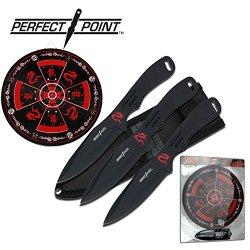 3 Piece Black Throwing Knife Knives Set W/ Target Board