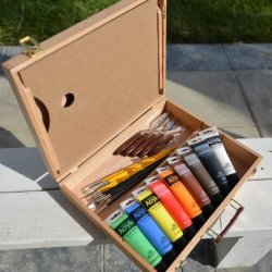 Quality Phoenix@ Artist'S Painting Box Easel Set With Painting Brushes, Palette Knife, 9 Tubes Of Acrylic Paint #4