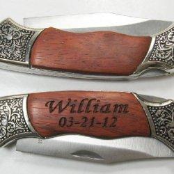 1 Personalized Engraved Pocket Knife Wood & Metal Handle Holidays Birthday Groomsmen Gift