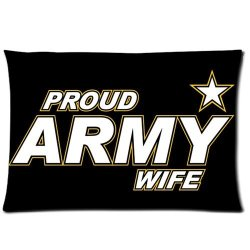 Jdsitem Simple Proud Army Wife Star Design 20 By 30 Inch Zippered Cotton And Polyester Rectangle Pillowcases Protector Case
