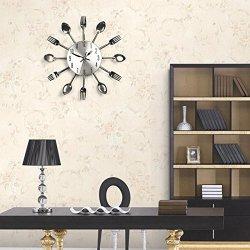 Kitchen Cutlery Creative Design Spoon Fork Wall Clock Home Decor