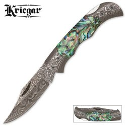 Kriegar Folder With Damascus Blade And Abalone Handle
