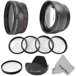 52Mm Essential Kit For Nikon Dslr (D5100 D5000 D3200 D3000 D90 D80) - Includes: 2.2X Telephoto And 0.43X Wide Angle (W/ Macro Portion) High Definition Lenses + 6 Point Star Filter + Macro Close Up Set (+1+2+4+10) + Tulip Flower Lens Hood + Premium Magicfi
