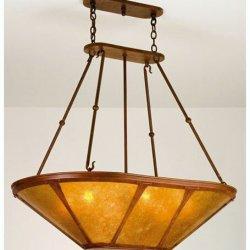 """Meyda Lighting 98383 42.5""""L Van Erp Amber Mica Inverted Pendant"""