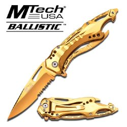 "Mt-A705Gd M-Tech Ballistic Action Assist Knife ""4.5"""""" Gold Be5Dep4Ea Edition Folding Knife 7Prb85Jp Dagger Sword Steel Edge"